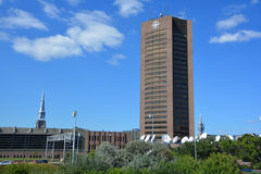 Maison Radio-Canada. MONTREAL CANADA SEPTEMBER 4 2015: Maison Radio-Canada is a skyscraper in Montreal, constructed in 1973 as a home for the Canadian Stock Image