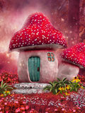 Maison rose de champignon Photos stock