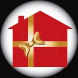 Maison rouge de cadeau pour annoncer l'usage Images stock