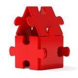 Maison rouge de puzzle illustration stock