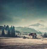 Maison rurale dans les montagnes carpathiennes Image libre de droits