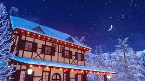 Maison rurale européenne lumineuse la nuit 4K hiver illustration stock