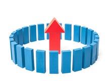 Maison stylisée entourée par les blocs bleus Photo libre de droits
