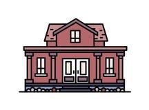 Maison suburbaine à deux étages avec le porche et les colonnes construits dans le style architectural classique élégant Construct Photo stock