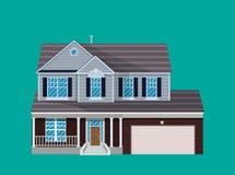 Maison suburbaine de famille avec le garage Photos stock