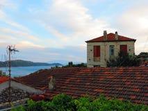 Maison sur l'île de Leucade en Grèce Photographie stock