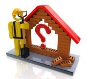 Maison symbolique avec un point d'interrogation - concept de construction Photos libres de droits