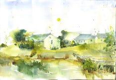 Maison tirée par la main de porcelaine de peinture d'aquarelle Image libre de droits