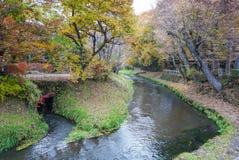 Maison traditionnelle avec le beau jardin de ressort au village d'Oshino Hakkai photos stock