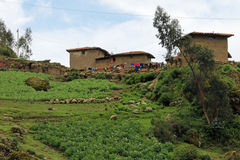 Maison traditionnelle d'agriculteur au Pérou Photographie stock