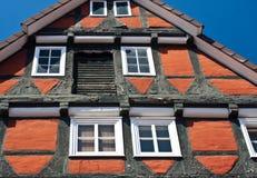 Maison traditionnelle de fram de bois de construction dans Celle, Allemagne photos stock
