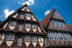 Maison traditionnelle de fram de bois de construction dans Celle, Allemagne images stock
