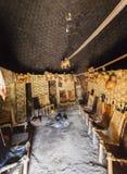 Maison traditionnelle intérieure de Dorze Village de Hayzo, vallée d'Omo, Ethio photos stock
