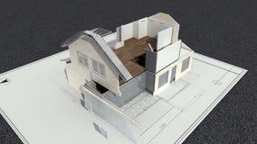 Maison tridimensionnelle changée par dessin architectural et signe vendu illustration stock