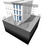Maison urbaine avec de nouvelles fenêtres/portes illustration stock
