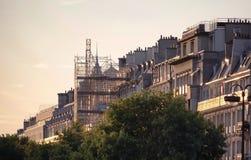 Maisons à la lumière de coucher du soleil Images libres de droits