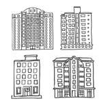Maisons à plusiers étages tirées par la main illustration de vecteur