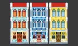 Maisons à trois niveaux de terrasse de style colonial coloré et historique D'isolement illustration de vecteur