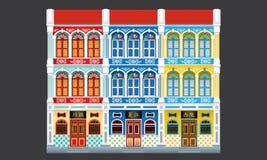 Maisons à trois niveaux de terrasse de style colonial coloré et historique joint illustration libre de droits