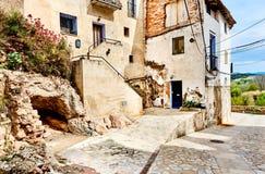 Maisons antiques de village de Miravet Photo stock