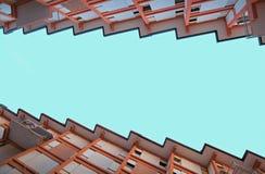 maisons avec des terrasses et le toit sous forme de dent de scie Images stock
