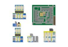 Maisons ayant beaucoup d'étages d'illustration de vecteur pour le modèle 3d illustration de vecteur