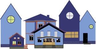 Maisons bleues confortables, rue d'hiver Photo libre de droits