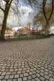 Maisons Bruges de pavés ronds et de Canalside Photographie stock