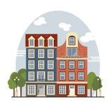 Maisons colorées d'Amsterdam de vintage Appartements pour le loyer, vente, Real Estate illustration libre de droits