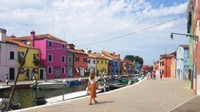 Maisons colorées dans Burano, Venise image libre de droits
