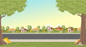 Maisons colorées dans le voisinage de banlieue illustration stock