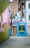 Maisons colorées de Burano Images libres de droits