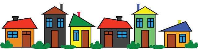 Maisons colorées de frontière Ornement panoramique Ville de couleur illustration de vecteur