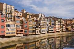 Maisons colorées de Girona Photos libres de droits
