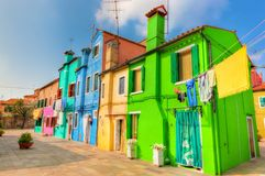 Maisons colorées sur l'île de Burano, près de Venise, l'Italie Photos libres de droits