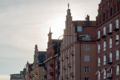 maisons Corneille-faites un pas de pignon chez Norr Mälarstrand à Stockholm, Suède images stock