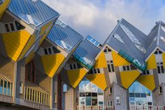 Maisons cubiques jaunes - Rotterdam Pays-Bas photos libres de droits