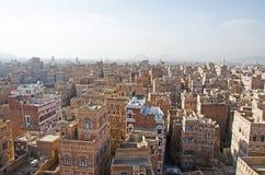 Maisons décorées, palais, minarets, Sana'a, Yémen images libres de droits