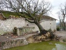 Maisons détruites pendant une tempête Photographie stock