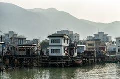 Maisons d'échasse de village de pêche de Tai O en Hong Kong Images stock
