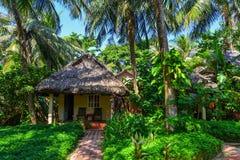 Maisons d'été avec le jardin vert d'arbre images stock