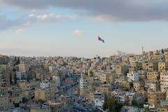 Maisons d'Amman de la capitale de la Jordanie au coucher du soleil Photographie stock
