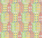 Maisons d'Amsterdam de croquis dans le style de vintage illustration libre de droits