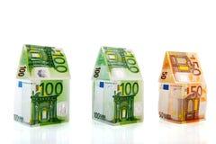 Maisons d'argent dans une ligne Images stock