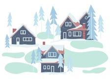Maisons d'hiver et illustration neigeuses de vecteur de nature illustration de vecteur