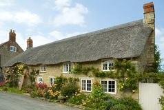 Maisons dans Abbotsbury Images libres de droits
