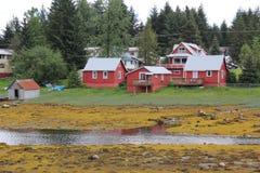 Maisons de bord de mer au port de Pétersbourg Alaska Images stock