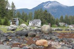 Maisons de bord de mer près de Pétersbourg Alaska Image stock