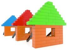 Maisons de briques de jouet dans la rangée sur le blanc illustration de vecteur