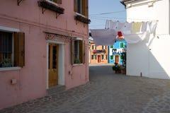 Maisons de Burano, Venise photos libres de droits